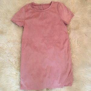 Forever 21 Dresses - Pink Faux Suede Tee Dress